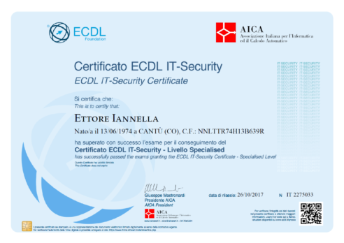 ECDL IT-Security – Livello Specialized